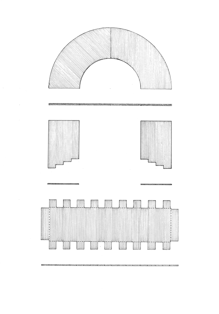 technical drawing of roman arch model
