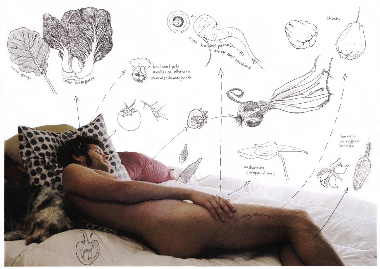 photo of man naked on bed with drawings of vegetables