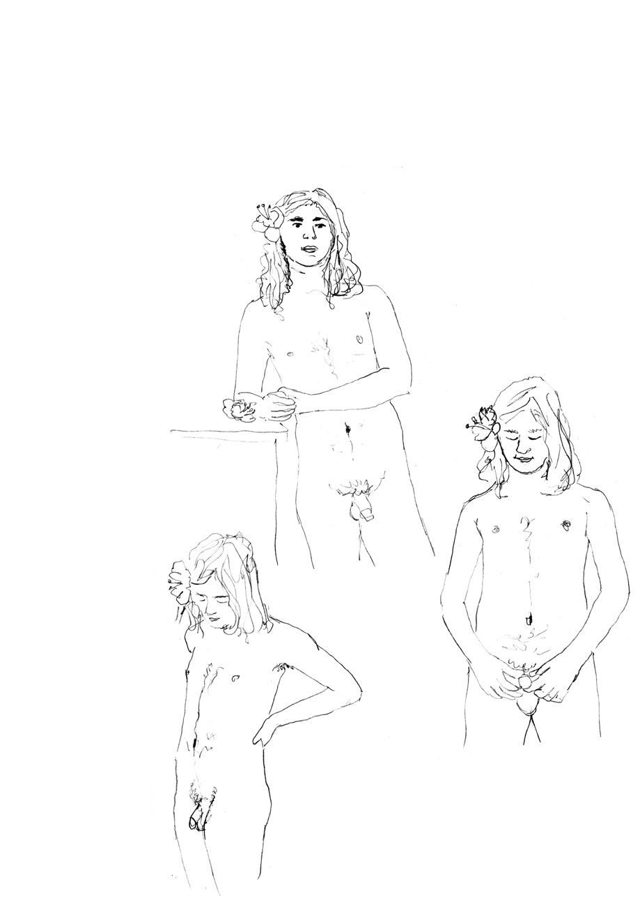 Drawings of Nuno naked with flowers in his hair