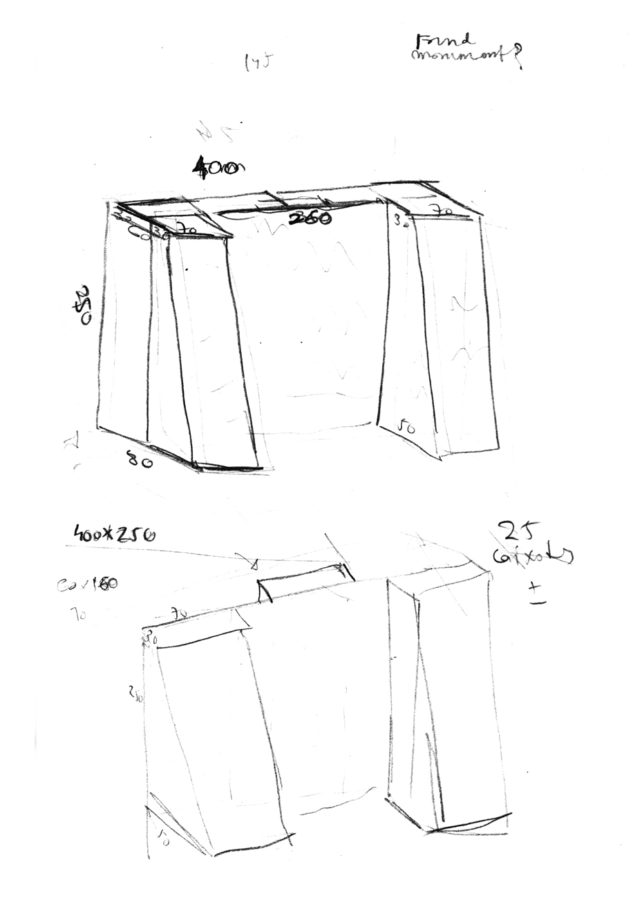 sketch with piece dimensions