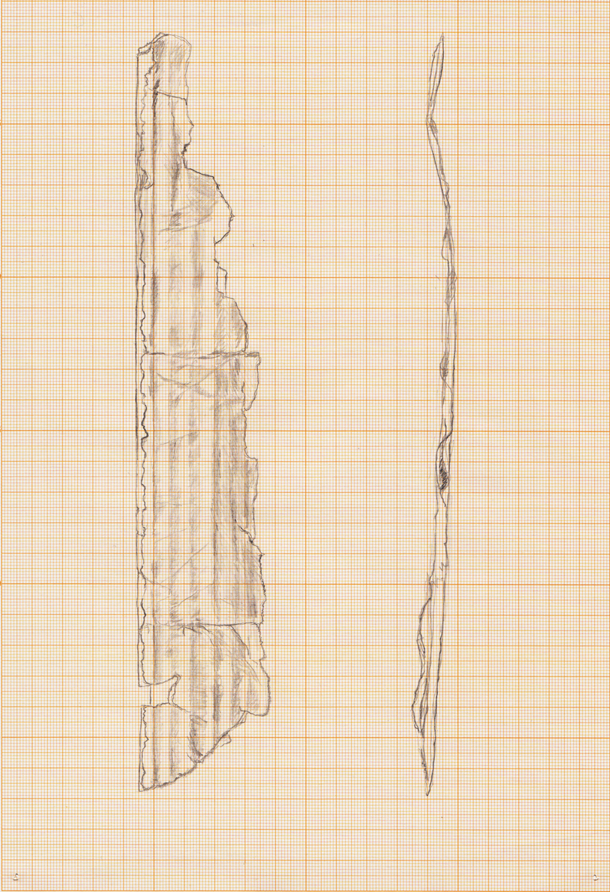 drawing with front and side view of cardboard fragment