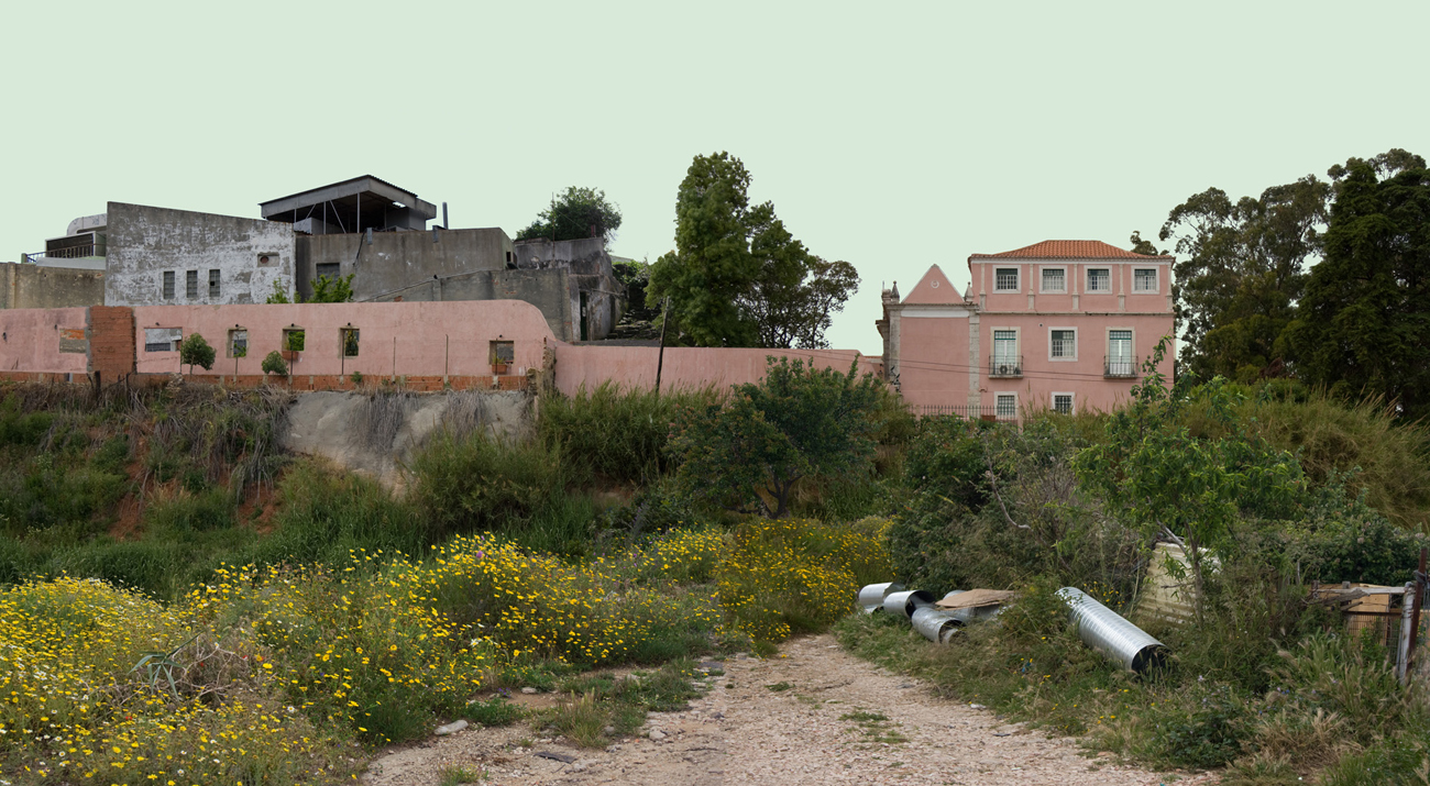 photomontage: composite building in abandoned landscape