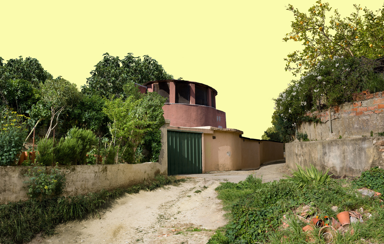photomontage: informal architecture in run-down suburban landscape
