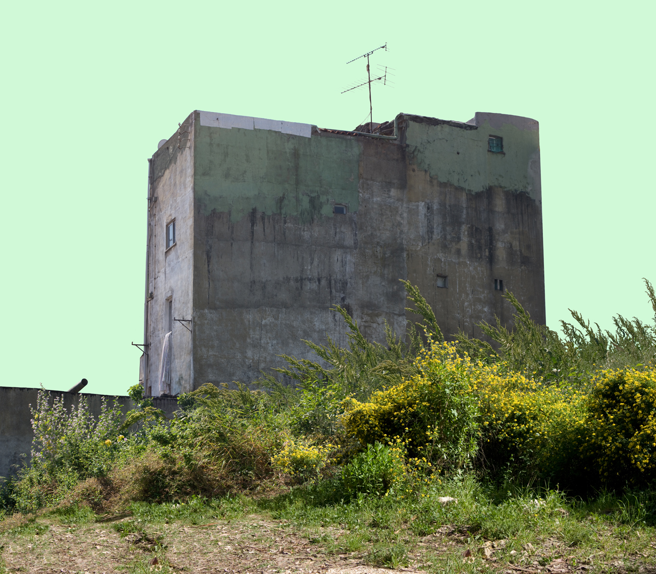 singular monolithic building with almost blind wall in greyish-green shades of decrepitude