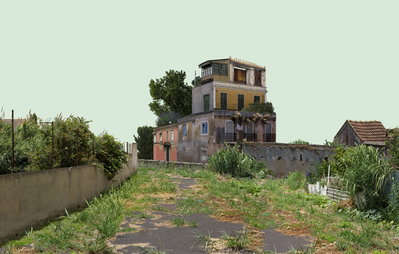 photomontage: composite decrepit building in abandoned landscape