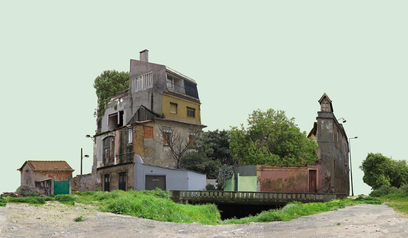 photomontage: composite decrepit building in abandoned landscape