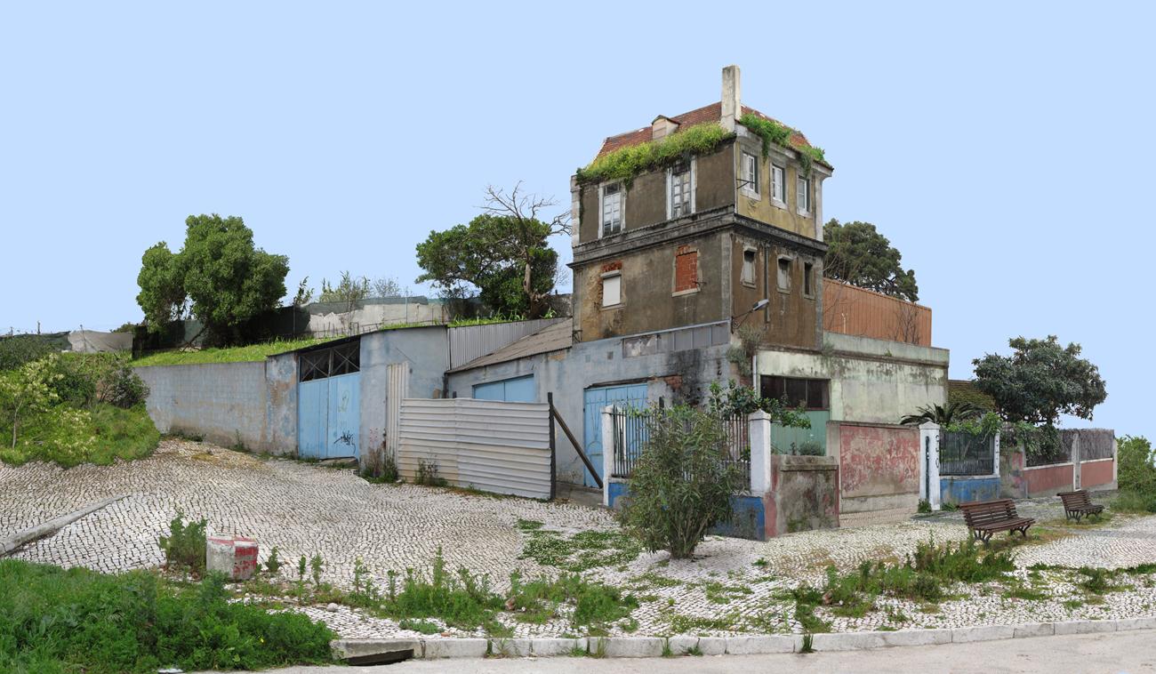 photomontage: composite decrepit building with overgrown stone sidewalk
