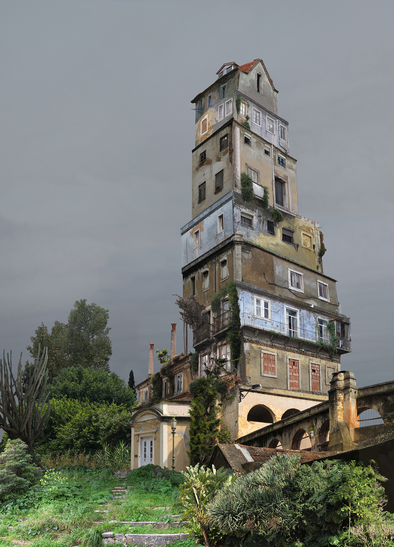 tall and decrepit composite building