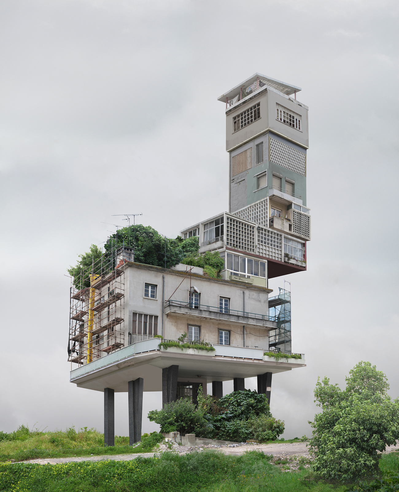 modernist composite building with assymetrical tower