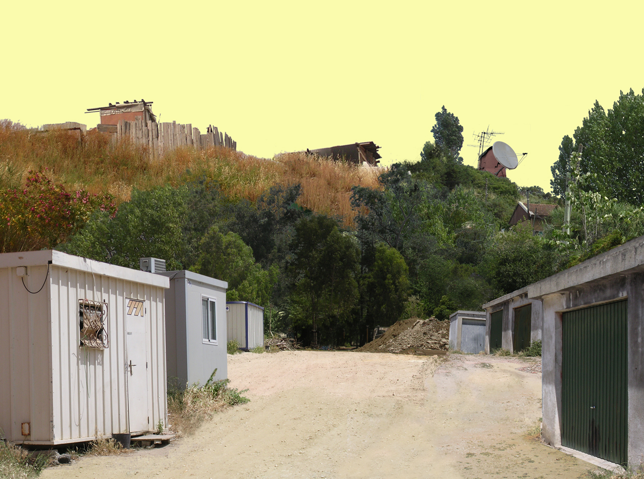 photomontage of suburban Lisbon landscape with yellow sky