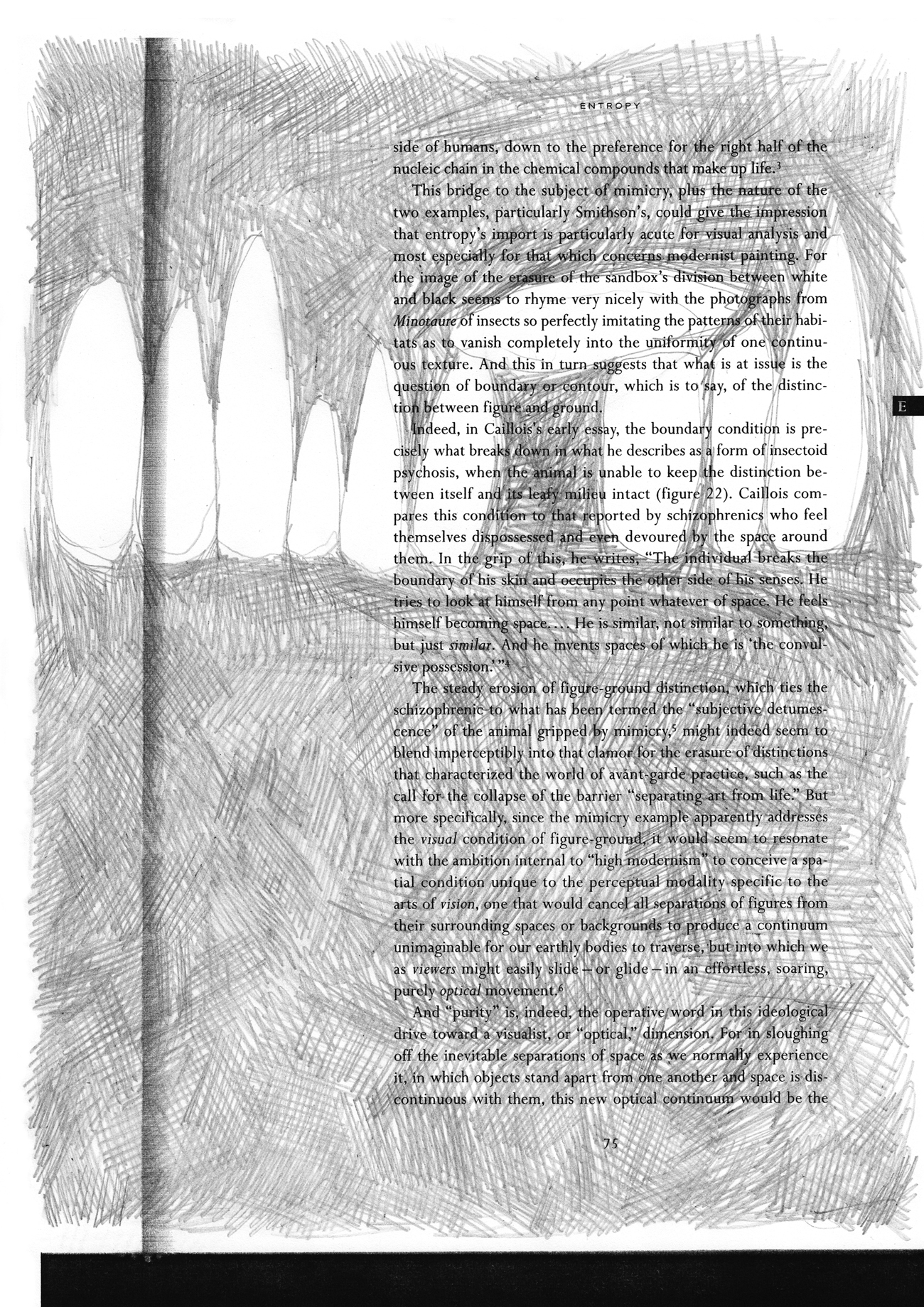 text from formless exhibition catalogue with negative drawing of standing stones