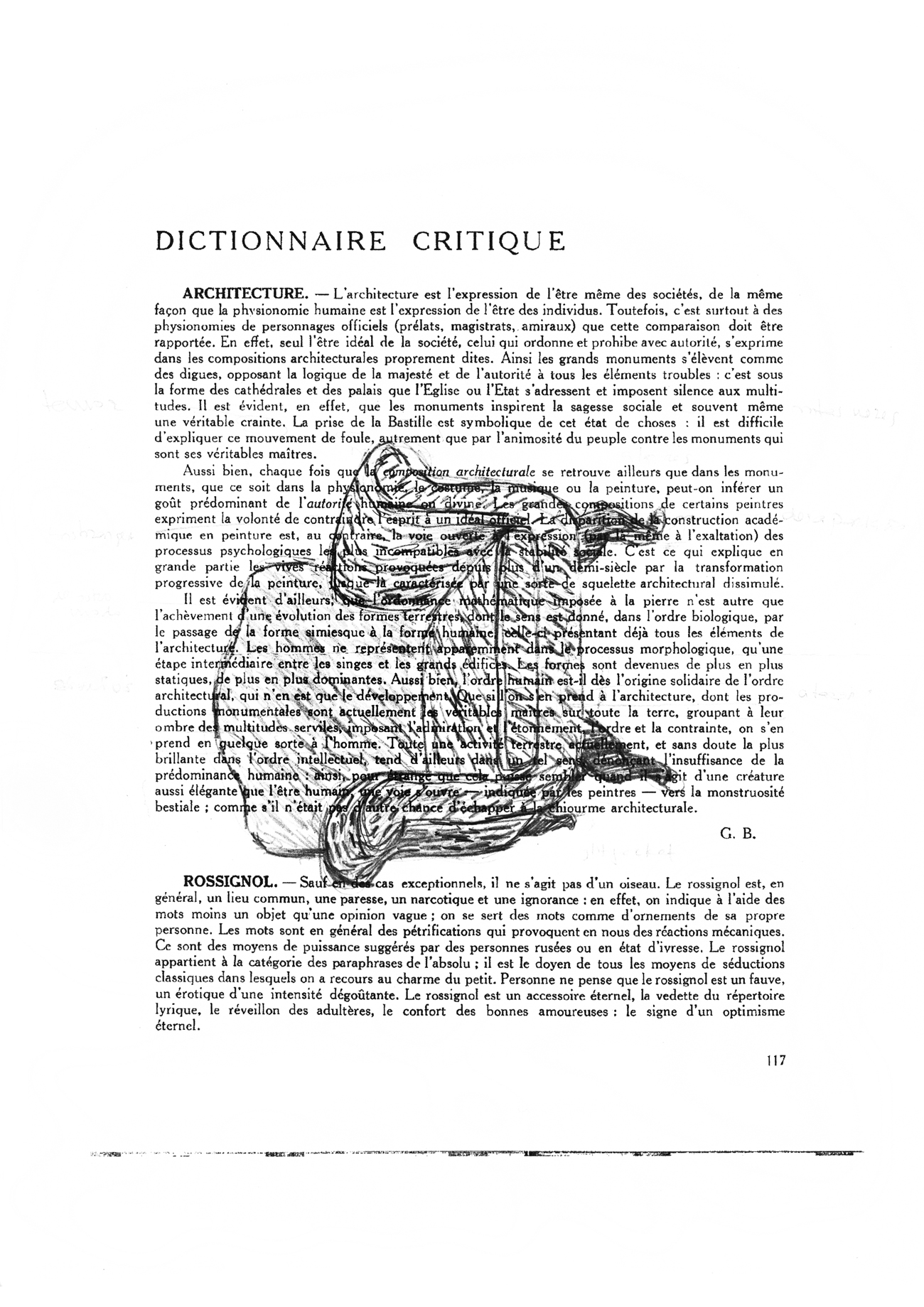 definition of architecture from diccionaire critique with drawing of armchair superimposed