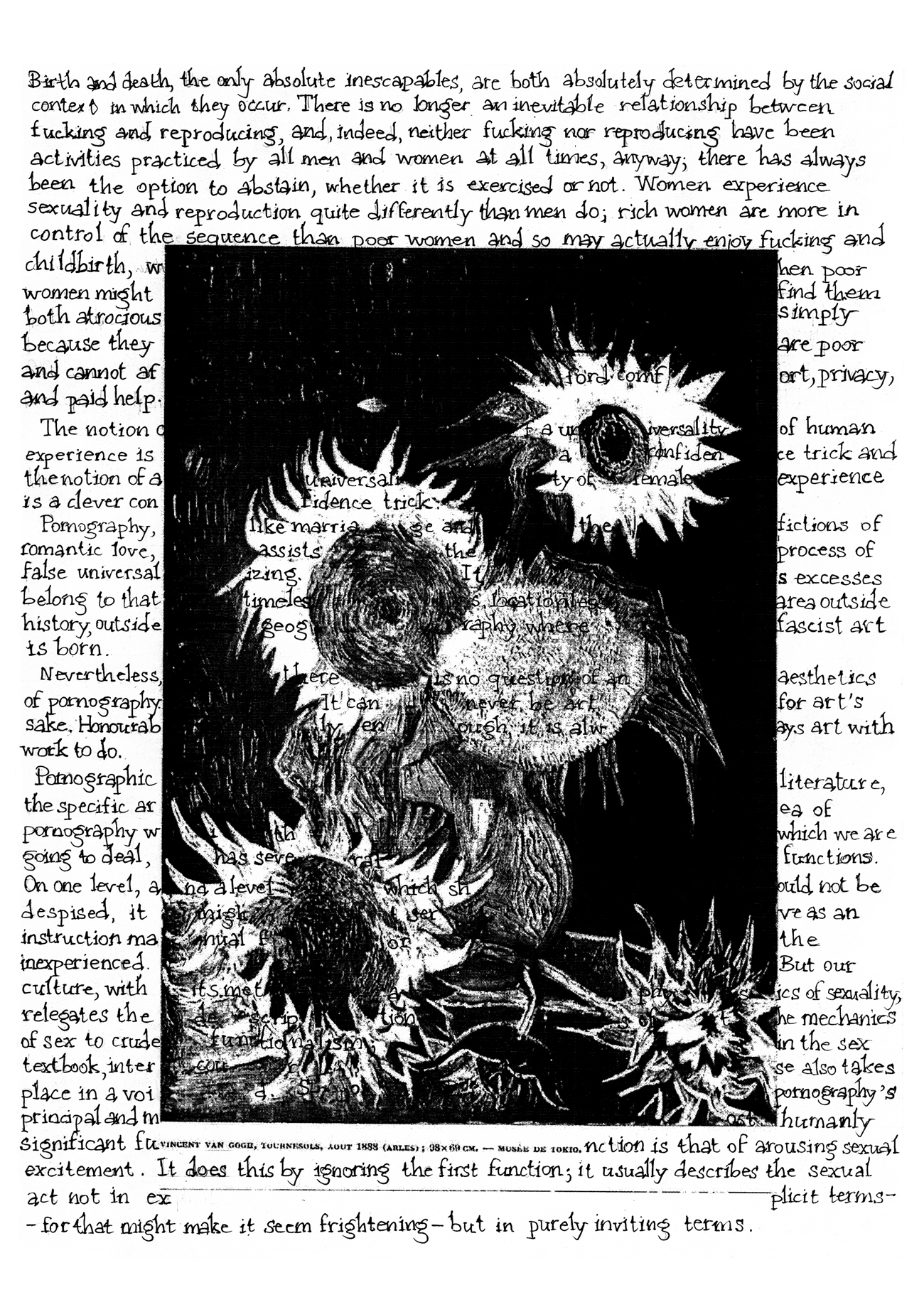 Van Gogh's sunflowers in black and white with text from Angela Carter's the Sadeian Woman written over