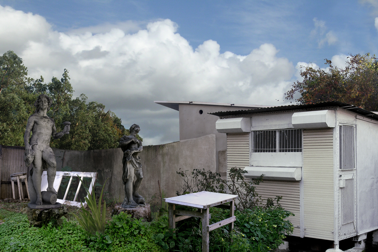 photomontage of suburban Lisbon back yard with statues and old school desk