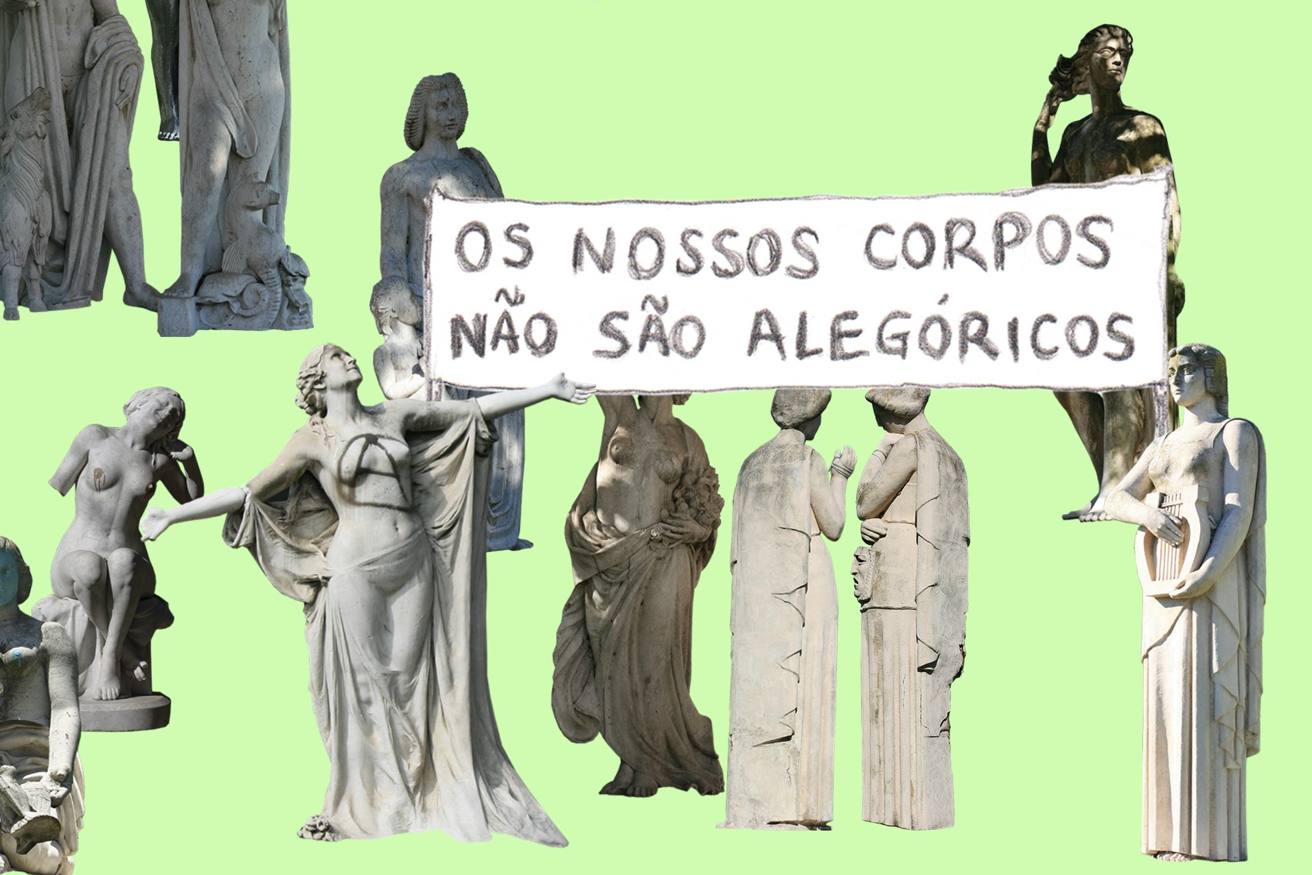 Several statues of nude women at a protest.