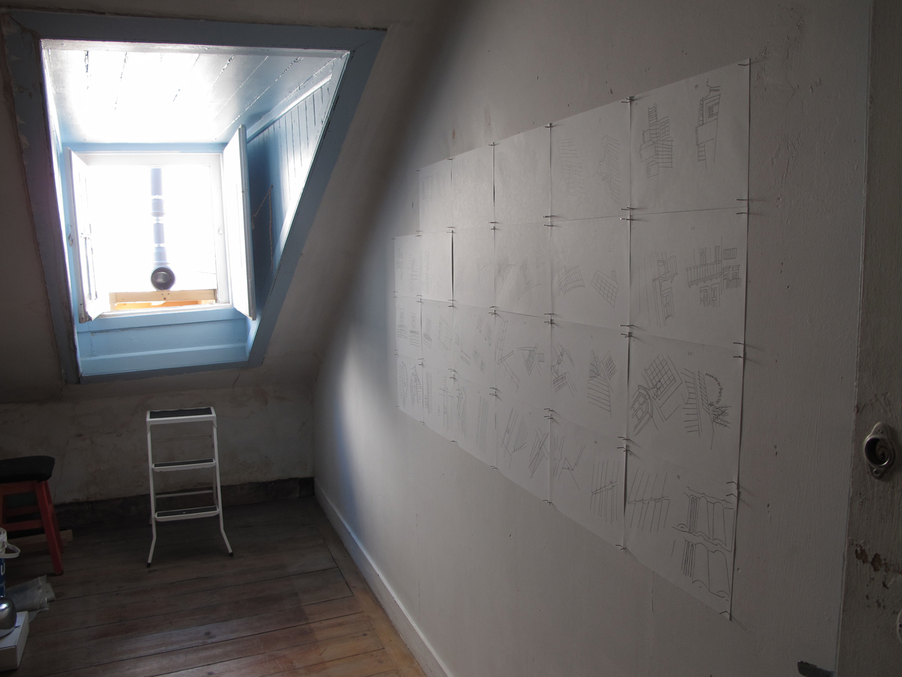 drawings on room wall