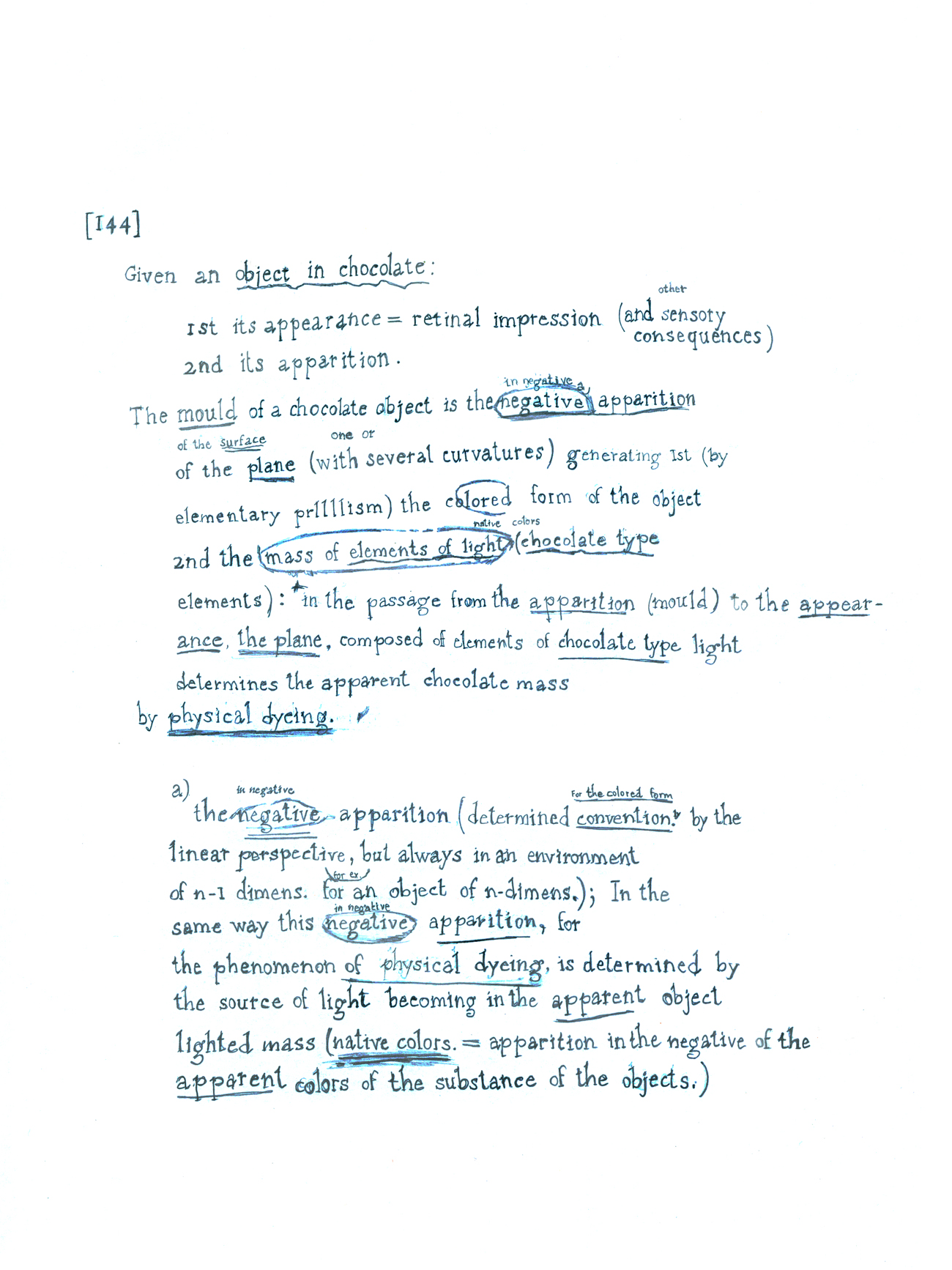 drawn reproduction of page from Duchamp's notes for large glass
