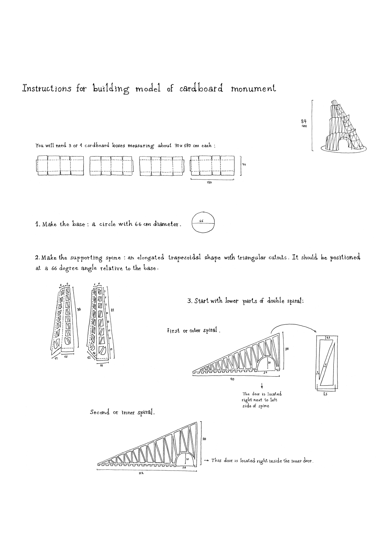 instructions for building cardboard monument
