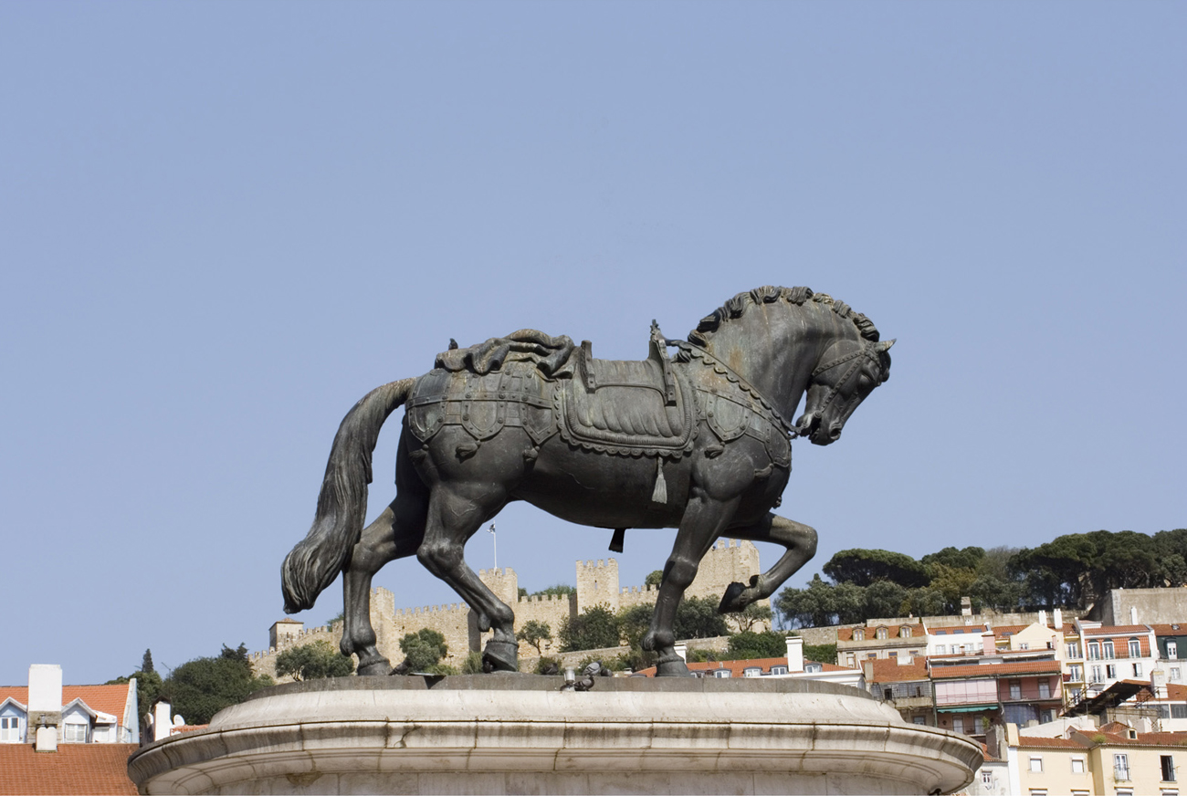 equestrian statue with rider removed