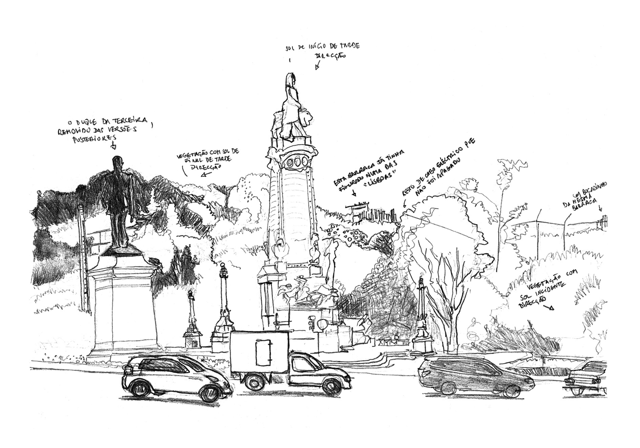 drawing of monumental sculpture transferral