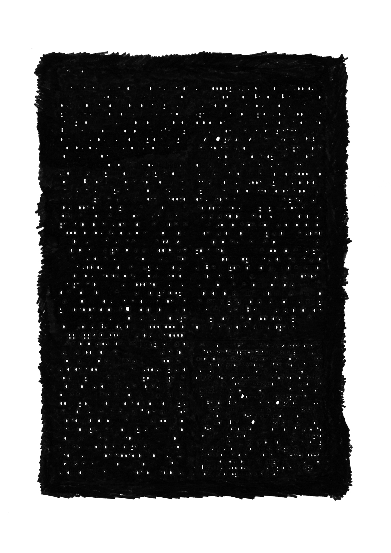 page of text with all text area blacked out except holes in letters