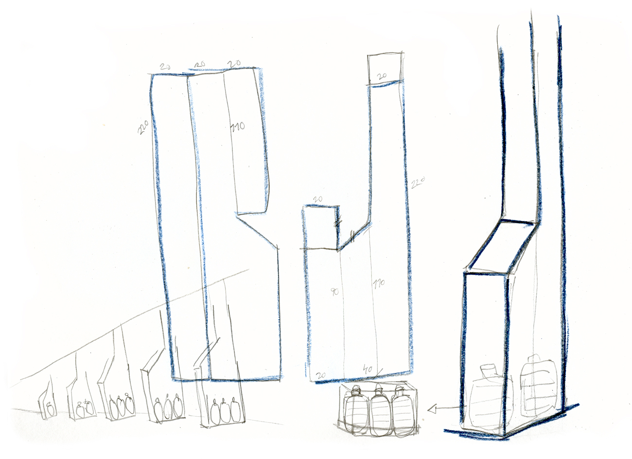 preliminary drawing for buttresses