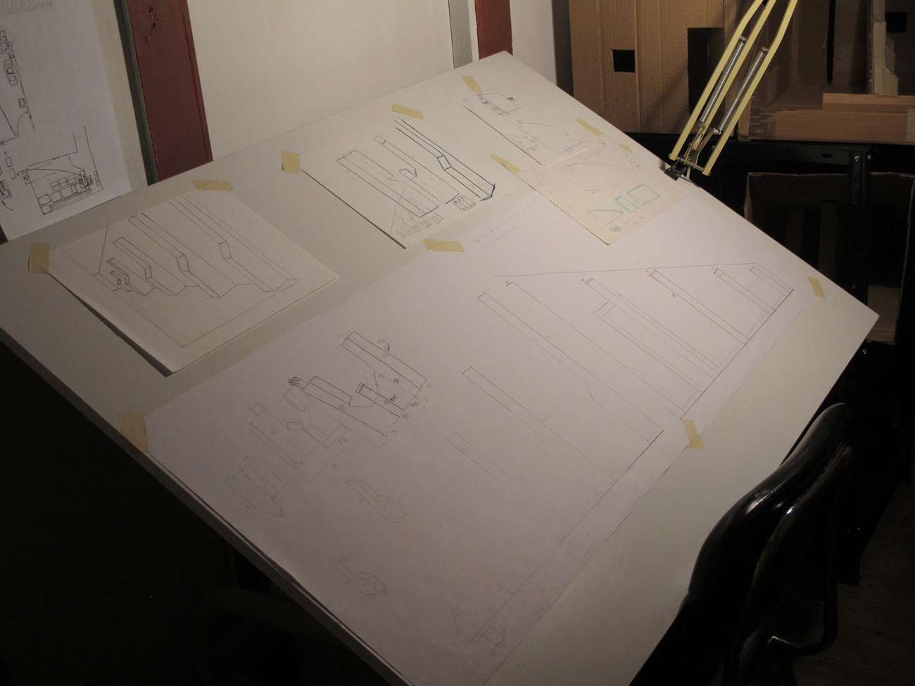 drawings on table