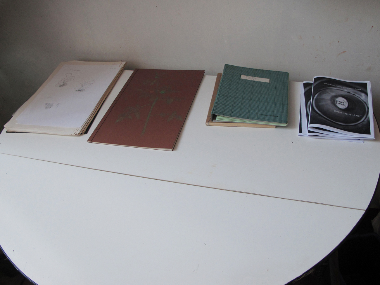 table with booklets
