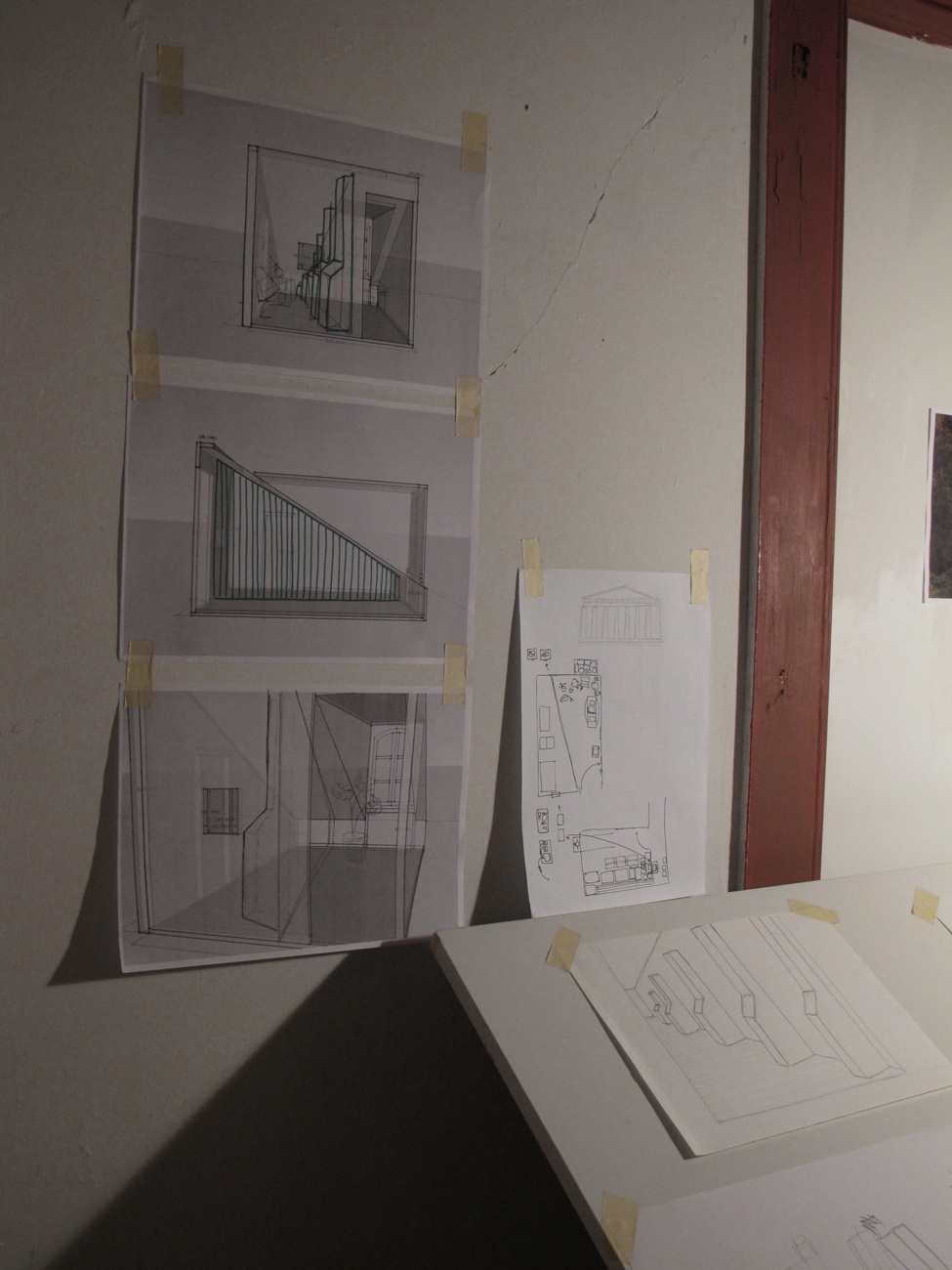 drawings on wall of interior space