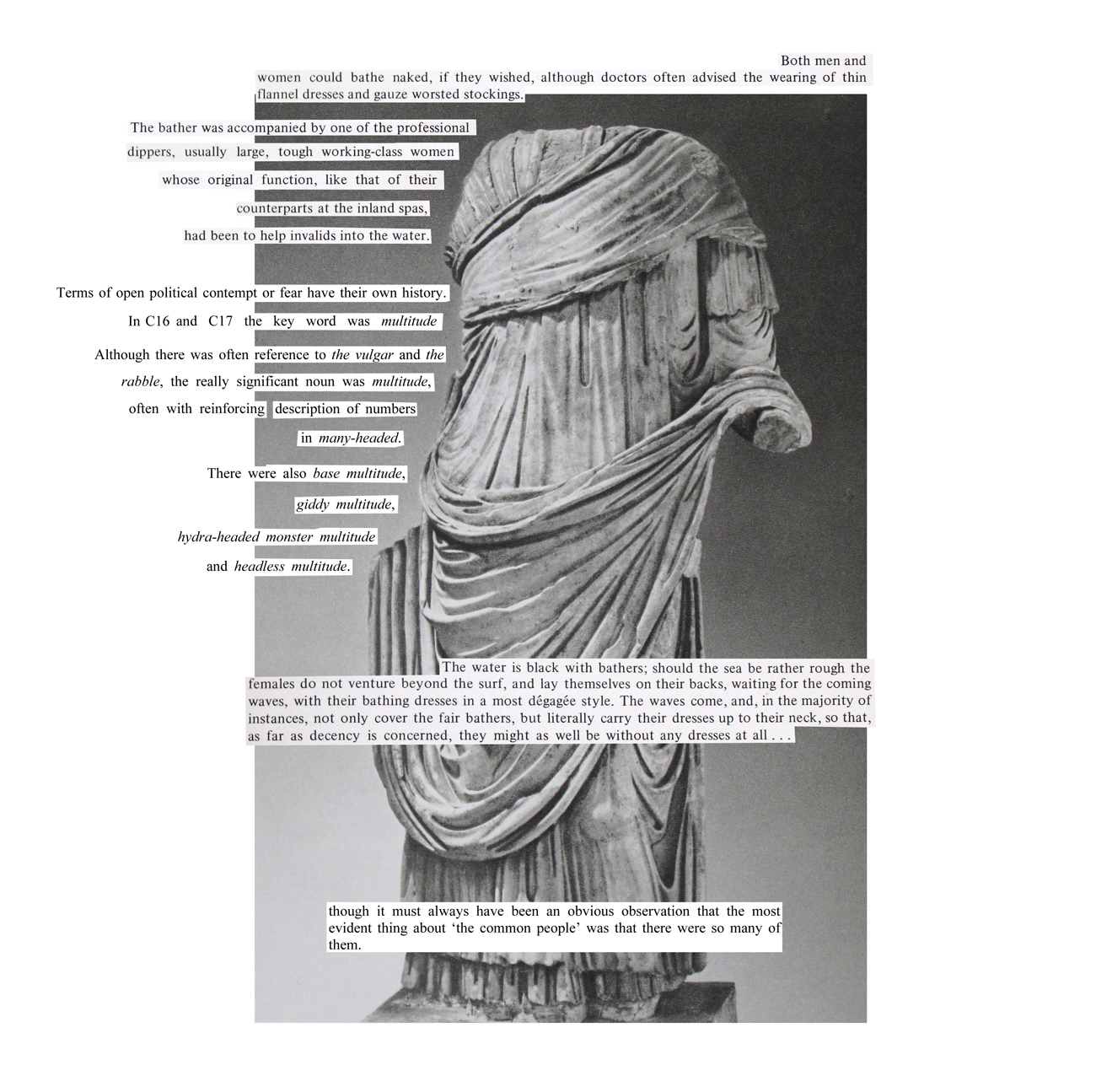 headless greek statue with text