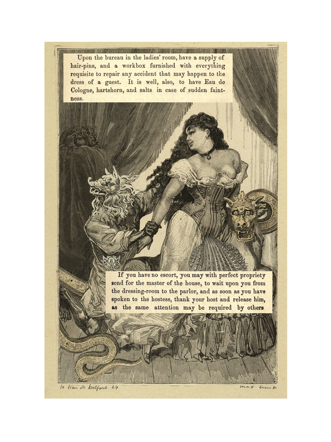 Max Ernst collage with text from manual of good manners for ladies