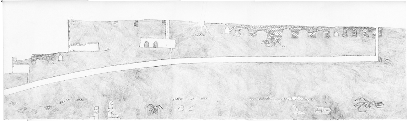 drawing: section of tunnel