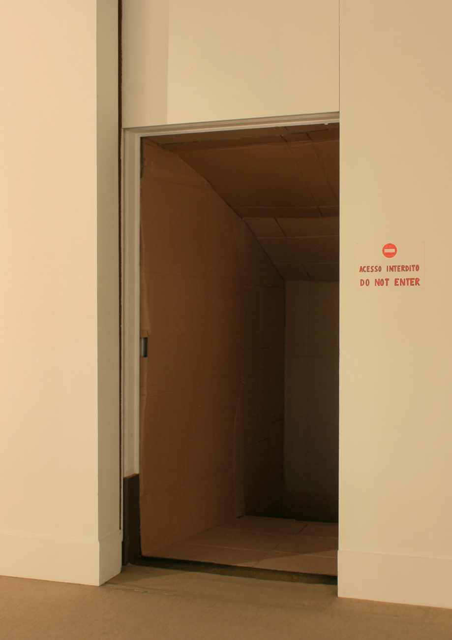 doorway with cardboard passage inside