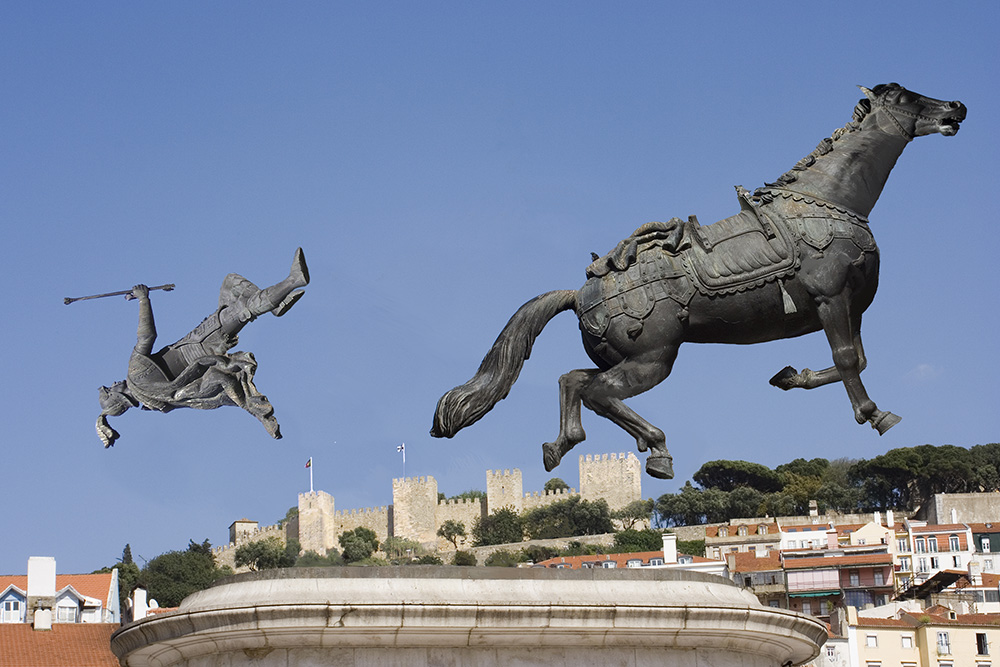 """Horse from equestrian statue throwing its rider and running away"