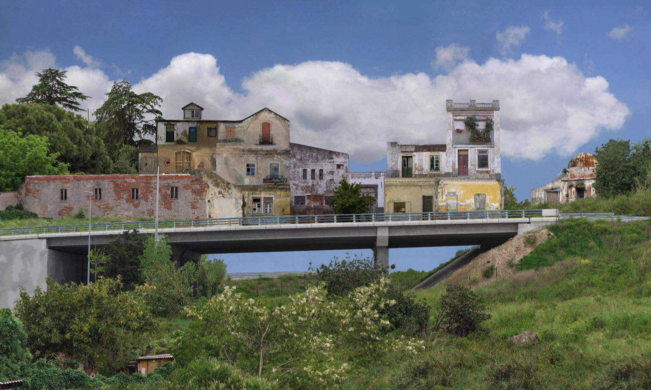 buildings over viaduct surrounded by overgrown greenery